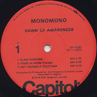 Monomono / Dawn Of Awareness label