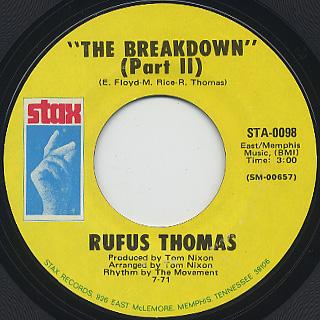 Rufus Thomas / The Breakdown c/w Part2 back