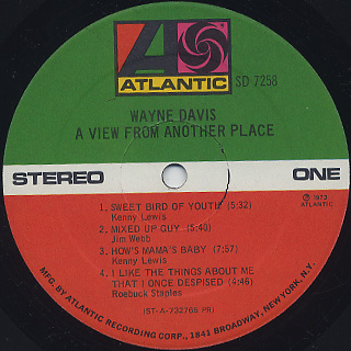 Wayne Davis / A View From Another Place label