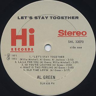 Al Green / Let's Stay Together label