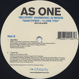 As One / Believer / Sanctified / I Love You label