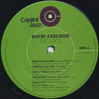 David Axelrod / The Edge: David Axelrod At Capitol Records 1966-1970 (2LP) label