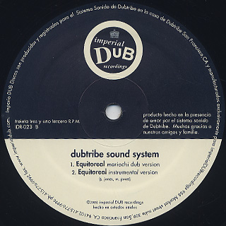 Dubtribe Sound System / Equitoreal back