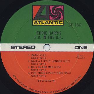 Eddie Harris / E.H. In The U.K. label
