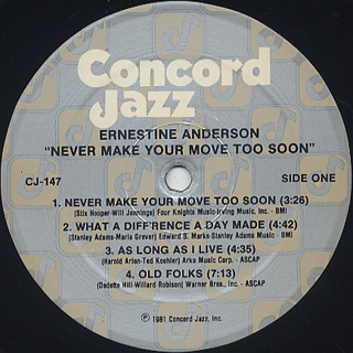 Ernestine Anderson / Never Make Your Move Too Soon label