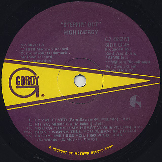 High Inergy / Steppin' Out label