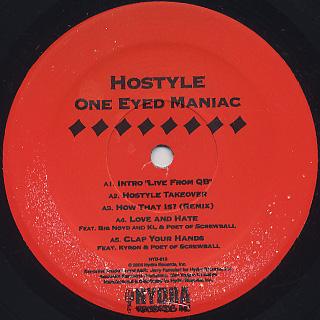 Hostyle / One eyed Maniac (2LP) label