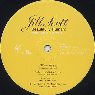 Jill Scott / Beautifully Human: Words And Sounds Vol.2 (2LP) label