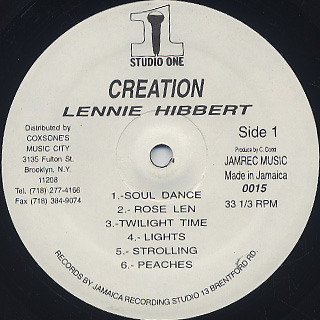Lennie Hibbert / Creation label