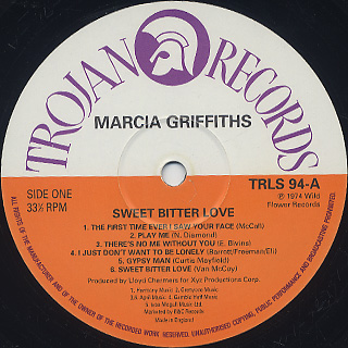 Marcia Griffiths / Sweet Bitter Love label