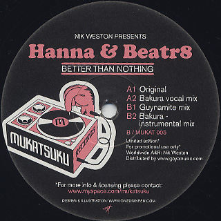 Nik Weston Presents Hanna & Beatr8 / Better Than Nothing back
