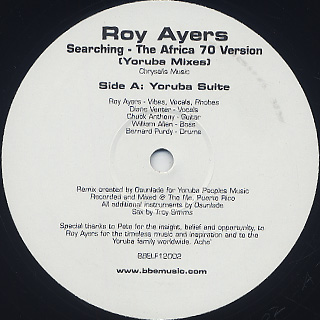 Roy Ayers / Searching - The Africa 70 Version(Yoruba Mixes) back