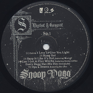 Snoop Dogg / R & G (Rhythm & Gangsta): The Masterpiece (2LP) label
