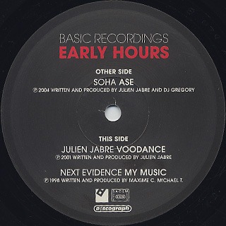 V.A. / Early Hours Of Julien Jabre, Next Evidence & Soha label