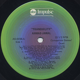 Ahmad Jamal / Tranquility (Later Jacket) label