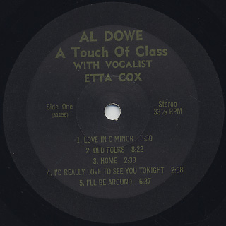 Al Dowe / A Touch Of Class label