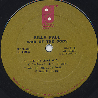 Billy Paul / War Of The Gods label