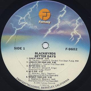 Blackbyrds / Better Days label