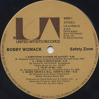 Bobby Womack / Safety Zone label
