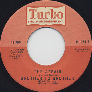 Brother To Brother / In The Bottle c/w The Affair back