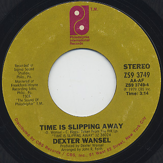 Dexter Wansel / New Beginning c/w Time Is Slipping Away back