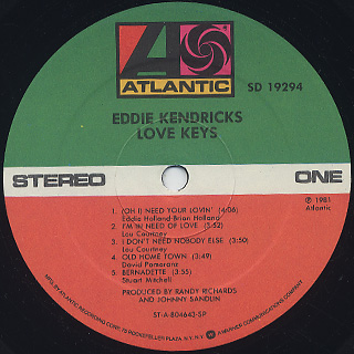 Eddie Kendricks / Love Keys label