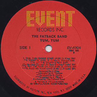 Fatback Band / Yum Yum label