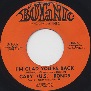 Gary(U.S.) Bonds / I'm Glad You're Back c/w Funky Lie front