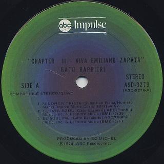 Gato Barbieri / Chapter Three: Viva Emiliano Zapata label
