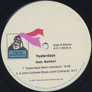 Gato Barbieri / Yesterdays label