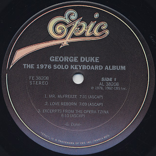 George Duke / The 1976 Solo Keyboard Album label