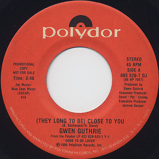 Gwen Guthrie / (They Long To Be) Close To You (45) back