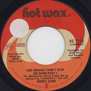 Honey Cone / One Monkey Don't Stop No Show back
