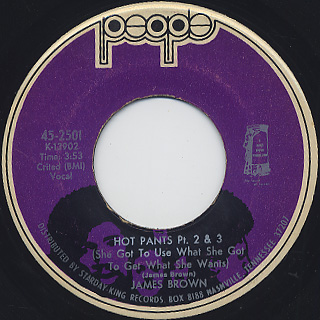 James Brown / Hot Pants Pt.I c/w Pt.II & III back