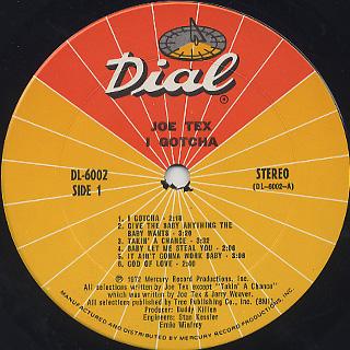 Joe Tex / I Gotcha label