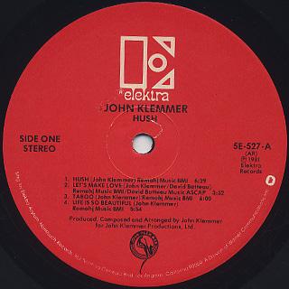 John Klemmer / Hush label