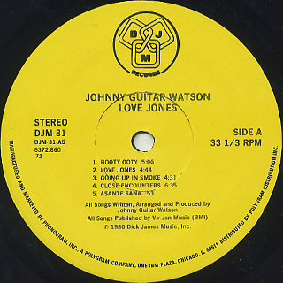 Johnny Guitar Watson / Love Jones label