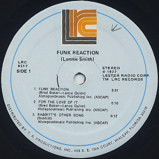 Lonnie Smith / Funk Reaction label
