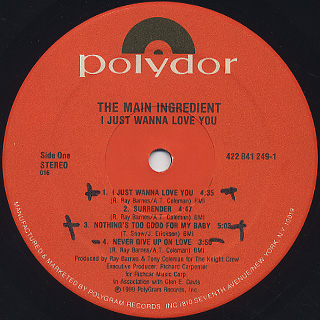 Main Ingredient / I Just Wanna Love You label