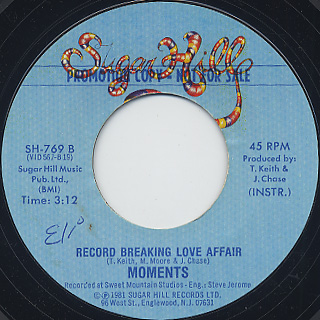 Moments / Record Breaking Love Affair c/w Inst. back