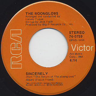 Moonglows / Sincerely c/w I Was Wrong