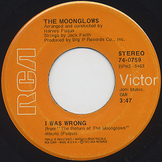 Moonglows / Sincerely c/w I Was Wrong back