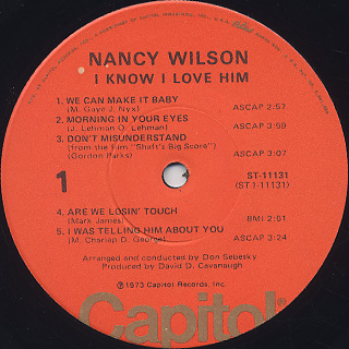Nancy Wilson / I Know I Love Him label