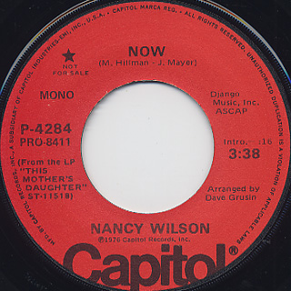 Nancy Wilson / Now c/w Now(Mono) back