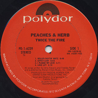 Peaches & Herb / Twice The Fire label