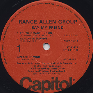 Rance Allen Group / Say My Friend label