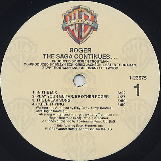 Roger / The Saga Continues... label