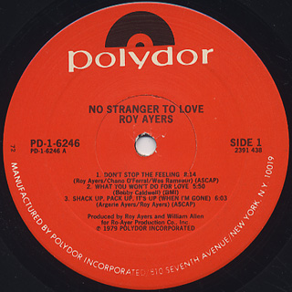 Roy Ayers / No Stranger To Love label
