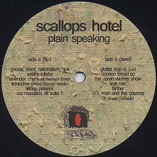 Scallops Hotel (Milo) / Plain Speaking label