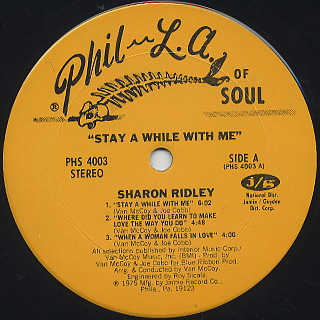 Sharon Ridley / Stay A While With Me label